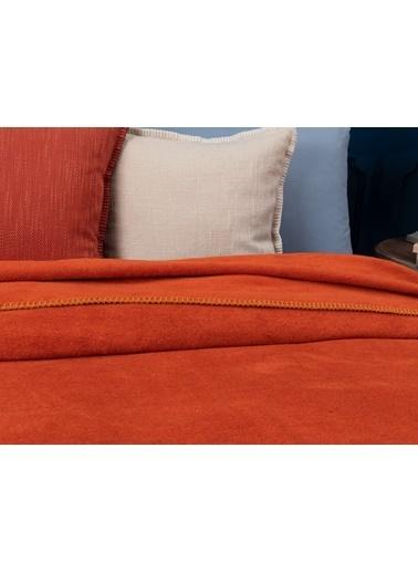 Madame Coco Étoile Düz Pamuklu Tek Kişilik Battaniye - Kiremit Kırmızı